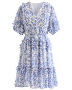 Rose Print Ruffle Detail Chiffon Dress in Blue