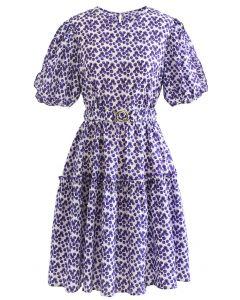 Flower Bud Embossed Ruffle Dress in Purple