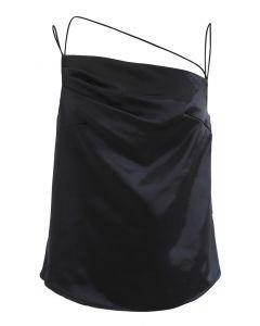 Asymmetric Strappy Satin Cami Top in Black
