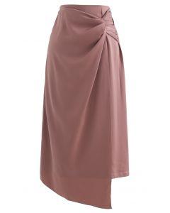 Twist Flap Asymmetric Satin Midi Skirt in Coral