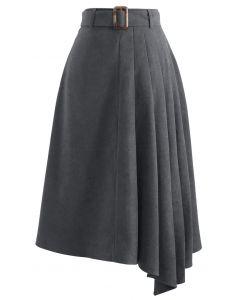 Side Pleats Belted Asymmetric Midi Skirt in Grey