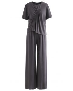 Ruched Trim T-Shirt and Pants Set in Smoke
