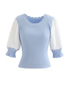 Spliced Mid Sleeve Fitted Knit Top in Baby Blue