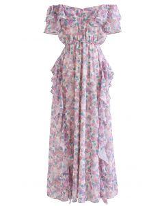 Lilac Floral Asymmetric Ruffle Off-Shoulder Maxi Dress