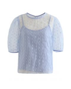 Embroidered Daisy Eyelet Sheer Top in Blue