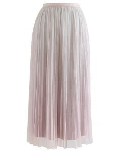 Gradient Shimmer Lining Pleated Mesh Skirt in Pink