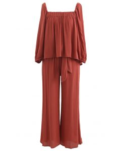 Square Neck Top and Self-Tie Waist Pants Set in Rust Red
