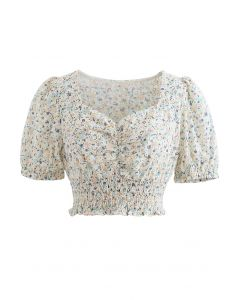 Ditsy Floral Sweetheart Neck Eyelet Crop Top