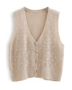 Dotted Button Down Sleeveless Knit Cardigan in Tan
