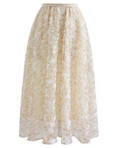 Elegant Moment Floral Jacquard Mesh Skirt