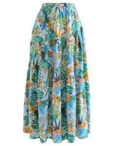 Tropical Vibe Frill Hem Maxi Skirt