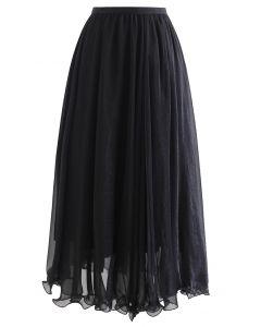 Subtle Shimmer Semi-Sheer Pleated Midi Skirt in Black