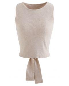 Bowknot Wrap Back Sleeveless Crop Knit Top in Linen