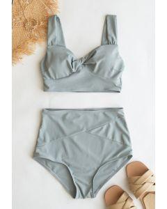 Twist Front High-Waisted Bikini Set in Grey