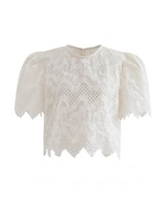 Scrolled Embroidery Zigzag Organza Top in Cream