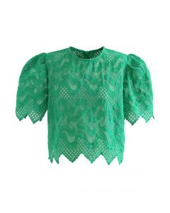 Scrolled Embroidery Zigzag Organza Top in Green