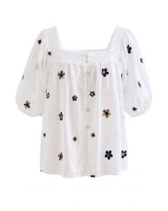 Flower Stitch Square Neck Buttoned Top
