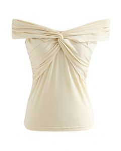 Twist Front Off-Shoulder Fitted Top in Cream