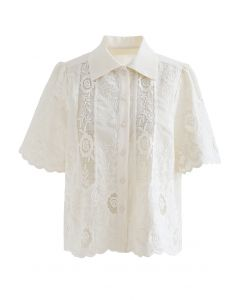 Button Down Embroidered Flower Shirt