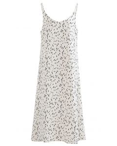 Falling Spotted V-Neck Cami Dress in Ivory