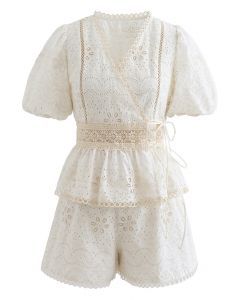 Stunning Eyelet Embroidered Wrap Top and Shorts Set in Cream