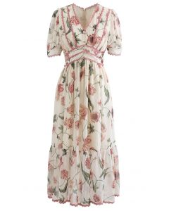 Lacey Edge Floral Printed Chiffon Dress