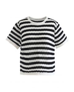 Contrasted Stripe Embossed Knit Top in Black
