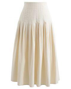 Pleated Waist Cotton Midi Skirt in Cream