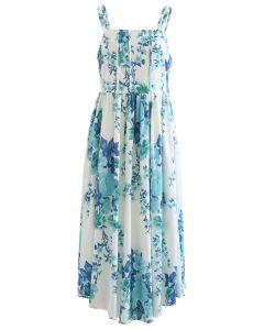 Watercolor Greenery Floral Tie Shoulder Maxi Dress