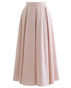 Box Pleated High Waist A-Line Midi Skirt in Peach