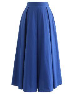 Box Pleated High Waist A-Line Midi Skirt in Blue