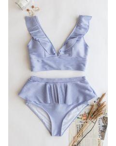 Zippered Back Ruffle Bikini Set in Lilac