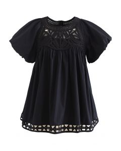 Crochet Inserted Bubble Sleeves Dolly Top in Black