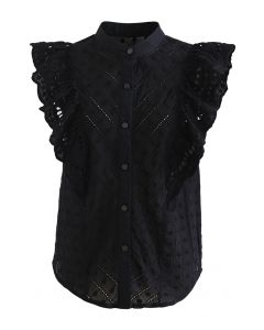 Dots Embroidered Flutter-Sleeve Buttoned Top in Black
