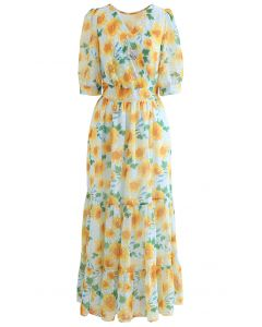 Yellow Flower Flock Dot Frilling Maxi Chiffon Dress