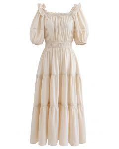 Ruffled Neck Crochet Detail Midi Dress in Cream