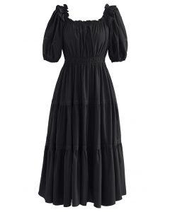 Ruffled Neck Crochet Detail Midi Dress in Black