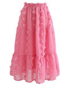 Cotton Flower Frill Hem Mesh Skirt in Pink