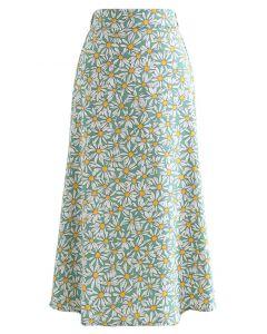 Fancy Daisy Flare Hem Midi Skirt in Green
