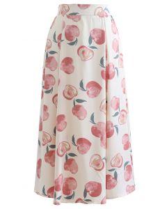 Blushing Peach Print Satin Midi Skirt
