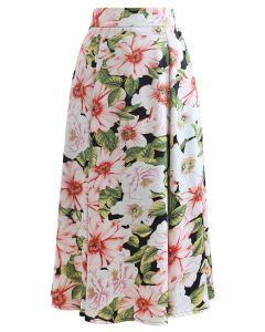Charming Flower Print Satin Midi Skirt