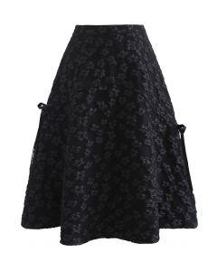 Embossed Flower Bowknot Side Flare Skirt