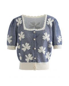 Embossed Butterfly Button Down Knit Cardigan in Dusty Blue