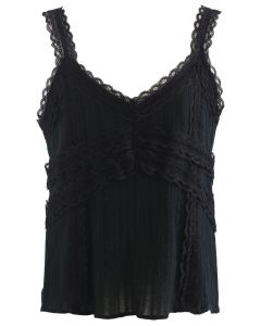 Lacy Cotton Blend Cami Tank Top in Black