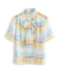 Abstract Print Flock Dots Bowknot Semi-Sheer Shirt in Yellow