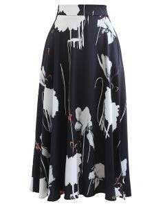 Lotus Ink Painting Satin Midi Skirt in Black