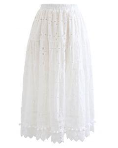 Pom-Pom Hem Embroidered Cotton Midi Skirt in White