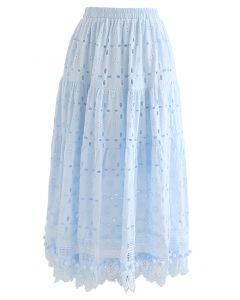Pom-Pom Hem Embroidered Cotton Midi Skirt in Sky Blue