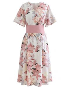 Lily Print Flare Sleeve Belted Midi Dress in Pink
