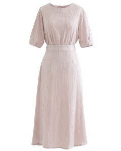 Full of Pleat Short Sleeve Top and Flare Skirt Set in Light Pink